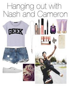 """Hanging out with Nash and Cameron"" by amu1234 ❤ liked on Polyvore featuring RVCA, Vans, Ann Demeulemeester, maurices, Benefit, Bobbi Brown Cosmetics, Stila, Thierry Mugler and Forever 21"