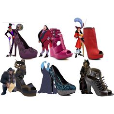 Disney Villain Heels by disney-villains on Polyvore featuring Mode, Promise Shoes, Michael Antonio, Pierre Hardy, Iron Fist and Disney