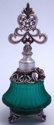 Green Ribbed Satin Glass Pewter Perfume Bottle Ornate Heart Stopper Dauber Rose <3<3<3 @