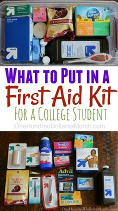 DIY First Aid Kit for College Students DIY First Aid Kit f College Dorm Rooms Aid college DIY dormroomideasforguys Kit students College Dorm Checklist, College Hacks, College Essentials, Dorm Hacks, College Dorm Organization, College Planner, Apartment Essentials, College Necessities, Room Essentials