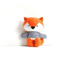 Fox foxy rag doll with navy blue and white striped tee stuffed toy fox plushie…