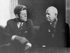 A rare picture of John F. Kennedy and Nikita Khrushchev of the Soviet Union.
