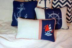 Nautical Pillow  Embroidered pillow  Lt by JulieButlerCreations, $26.50