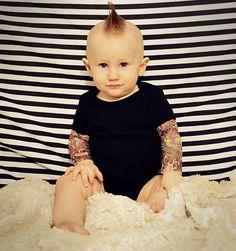 Wild Rose Tattoo sleeve onsie OMG i need this when i have babies! Fake Tattoo Sleeves, Sleeve Tattoos, Wild Rose Tattoo, Cute Babies, Baby Kids, Tattoo Shirts, Tattoo Clothing, Baby Tattoos, Tatoos