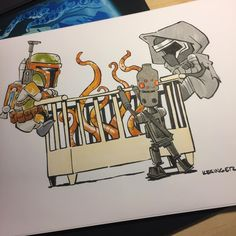 #lilkylo commission for parents of three boys who are expecting a new lil monster in their family. To celebrate #smallbusinesssaturday use the promocode:HOLIDAY35 to get 35% off everything in my etsy store. (Link in profile) #starwars #bobafett #ig88 #sarlacc