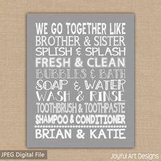 We Go Together Like Brother and Sister Bathroom sign. Custom Names on Kids Bathroom Wall Art. Jack and Jill Bathroom Decor. DIGITAL file. 10.00