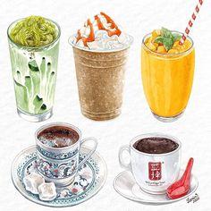 3,257 個讚,14 則留言 - Instagram 上的 𝗠𝘆 𝗻𝗮𝗺𝗲 𝗶𝘀 𝗟𝗲 𝗥𝗶𝗻©(@lerin_illustration):「 Thai green tea, frappe, mango smoothie, Turkish coffee and Kopi O. Copyright ©Le Rin - All rights… 」 #turkishcoffee #coffeeset #turkishcoffeepot Turkish Coffee Cups, Arabic Coffee, Turkish Tea, Vietnamese Street Food, Mango Drinks, Watercolor Food, Watercolour Art, Ceramic Tableware, Food Drawing