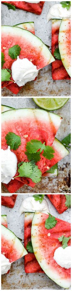 Grilled Watermelon with chili powder, fresh lime juice, cilantro and creme fraiche is a refreshing and unexpected summer treat!