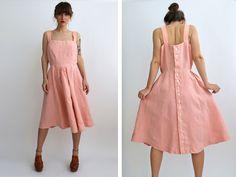 Pink Linen Sundress Jumper Dress Summer by JeannetteVintage