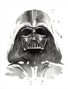 Darth Vader Watercolor Art Print The Dark Side of by OlechkaDesign