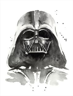 Darth Vader Watercolor Art Print The Dark Side of by OlechkaDesign