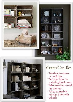 Using crates to stack for shelving and as storage! I love the bottom pic.