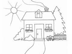 Huse Tegninger til Farvelægning. Printbare Farvelægning for børn. Tegninger til udskriv og farve nº 7