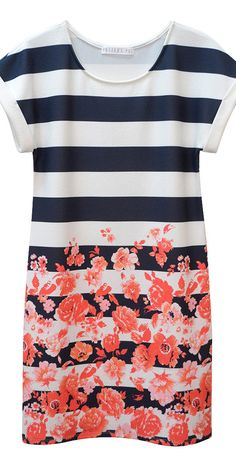 floral stripe shift dress, paired with navy leggings, cute, cute!
