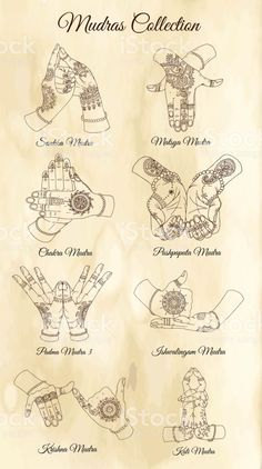 Mudras with mehndi henna patterns on hands, ethnic hindu ornament - Body Art Yoga Kundalini, Chakra Meditation, Design Lab, Henna Patterns Hand, Sacral Chakra Healing, Yoga Playlist, Hair Cutting Techniques, Indian Classical Dance, Yoga Mantras
