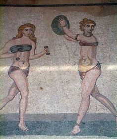 The history of lingerie. Roman women wore underwear made of linen or leather. The sub-ligature or subligaculum, a kind of panties, and the subucula, an interior tunic similar to a cotton or wool t-shirt also used as a nightgown, have reached to this day through mosaics, frescoes and statues of antiquity.