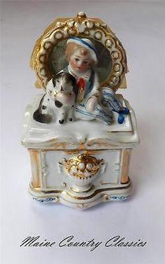 Antique Porcelain Trinket Boxes | Antique CONTA & BOEHME PORCELAIN FAIRING TRINKET BOX WITH MIRROR Boy ...