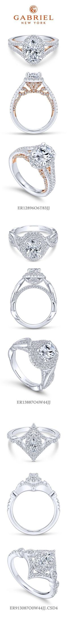 Gabriel NY - Preferred Fine Jewelry and Bridal Brand. Top 3 Oval Engagement Rings. 1) 18k White Gold Rose Gold Oval Halo Engagement Ring 2) 14k White Gold Double Halo Engagement Ring 3) Vintage 14k White Gold Halo Wedding Ring #fineweddingrings #ovalweddingrings