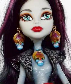 Purple Orange Blue  Sugar Skull Jewelry Monster by CuteWeirdFluffy, $4.50
