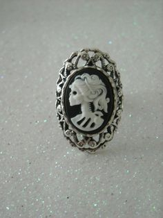 White Lady Lolita Skull antique silver victorian by OctoberPetals, $13.75