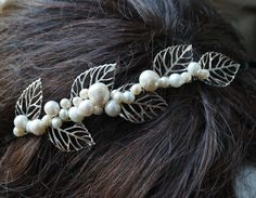 bridal head band with leaves