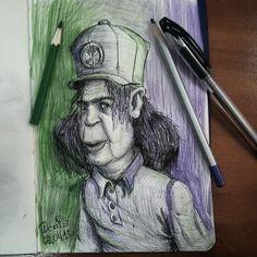 Как то вот так пообедал. Интересно ваше мнение, на кого он похож? Какие ассоциации вызывает у вас этот персонаж? #sketch #sketch_daily  #sketchbook  #drawing #draw #illustration #character #man #pencil #portrait #ballpoint #pen #aj_donis #artistic_share