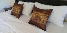 1 Piece Thai  Golden Brown Cushion Pillow Cover Patchwork Square 42 x 42 cm