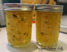 Fresh pineapple and a crisp jalapeno pepper combine to make this awesome jelly. Serve it over cream cheese on crackers, or baste it on po. Pineapple Pepper Jelly Recipe, Canning Pineapple, Jalapeno Jelly Recipes, Pepper Jelly Recipes, Red Pepper Jelly, Pineapple Jam, Fresh Pineapple Recipes, Pepper Butter Recipe, Dressings
