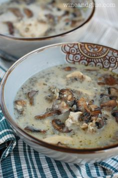Creamy Chicken Mushroom and Wild Rice soup;An earthy and hearty soup perfect for fall and winter. Winter Soups, Winter Food, Fall Soup Recipes, Party Recipes, Lunch Recipes, Gazpacho, Wild Rice Soup, Soup And Sandwich, Creamy Chicken