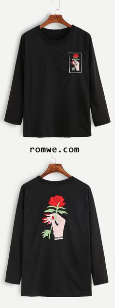 Black Hand And Rose Embroidery T-shirt