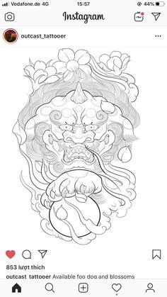 Foo Dog Tattoo Design, Tattoo Designs, Frog Tattoos, New Tattoos, Japanese Tatto, Lion Dragon, Oriental, Fu Dog, Asian Tattoos