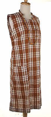 60s-Cotton-Seersucker-Sheath-Brown-Plaid-Vintage-Dress-Sz-M-Hey-Viv