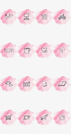 Story Highlight Cover Set of 16 Pink Watercolor Instagram Logo, Free Instagram, Instagram Story Template, Instagram Story Ideas, Instagram White, Pink Highlights, Story Highlights, Instagram Storie, Make Up Tutorial Contouring