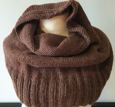 Hand knitted scarf for pulling down over shoulders in dark brown wool and alpaca by Ebooksandhandmade on Etsy Hand Knit Scarf, Cold Day, Mittens, Hand Knitting, Dark Brown, Cowl, Hands, Outfits, Etsy