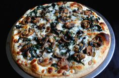 For the Love of Dessert: Onion, Mushroom, Spinach Alfredo Pizza
