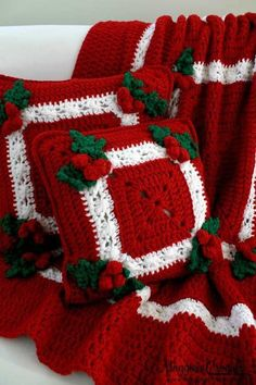 Holly and Berries Crochet Blanket Pillow Set Pattern for 2014 Christmas - Christmas Decor, Granny Square, Christmas Gifts