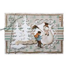 Sign anton pieck boy makes a snowman Anton Pieck, Make A Snowman, Winter Christmas, Decorative Plates, Joy, Frame, How To Make, September, Cards