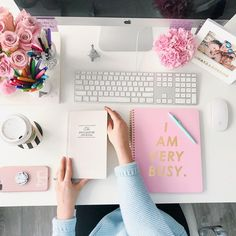 See more on Instagram: @annawithlove | Desk flatlay, styled desk, I am very busy notebook