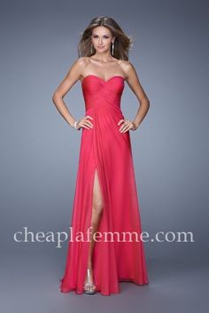 Beautiful Strapless La Femme 21057 Raspberry Long Slit Prom Dresses