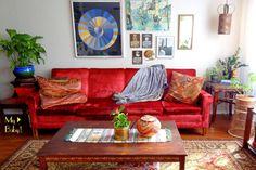 Boho Feel Interior, rocking a Vintage-Red-Velvet-Sofa. from Gypsy Yaya blog.