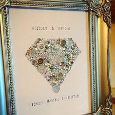 Anniversary Gift Wall Art Decoration Wedding Anniversary Diamond Wedding Ruby Wedding Button Art Swarovski Frame Personalised