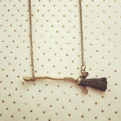 """Broomstick Quidditch Necklace Harry Potter Inspired Handmade SHIPS FROM USA  You will receive one handmade necklace with a flying broomstick charm. Chain measures 18"""", but you may request a different length that you would prefer! Would make a neat gift for any Potter fan! Thank you for looking!"""