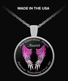 Aunt Guardian Angel Round Pendant - Pink