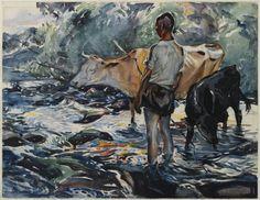 Boy with Cows by John Edward Costigan, watercolor, ca. 1922. Attribution: John Edward Costigan [Public domain], via Wikimedia Commons.