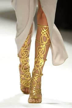 What Would Khaleesi Wear? Elle Tahari 2012 These Grecian shoes are to die for! submitted by negafinity