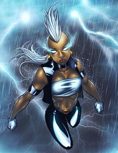 Storm is a fictional character in the Marvel comics' X-men who has the power to control and manipulate the weather. She is the reigning queen consort of Wakanda Storm Xmen, Storm Marvel, Comic Book Characters, Comic Book Heroes, Comic Books, Marvel Comic Universe, Comics Universe, Marvel Now, Marvel Comics