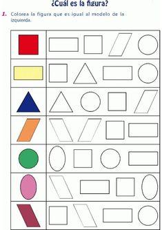Colorear figura igual al modelo … Printable Preschool Worksheets, Kindergarten Math Worksheets, Preschool Learning Activities, Preschool Activities, Kids Learning, Free Printable, Numbers Preschool, Math For Kids, Kids Education
