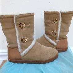 TAKE ADDITIONAL 50% OFFAuthentic FUR TB BOOTS Love them . They are comfortable and very warm. Made from real sheep fur inside . . Tan color with tory burch logo on the side . Very little Signs of wear. Tory Burch Shoes Ankle Boots & Booties