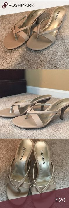 💕Like New Tan Heels Worn once, one inch heel with cross pattern on front. Brand is Fabulaire. Shoe Dazzle Shoes Heels