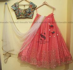 Beautiful pink color lehenga and designer blouse with white color net dupatta. Lehenga and blouse with hand embroidery mirror work. Half Saree Designs, Lehenga Designs, Blouse Designs, Mehndi Designs, Indian Designer Outfits, Designer Dresses, Bridal Lehenga, Lehenga Choli, Lehnga Dress